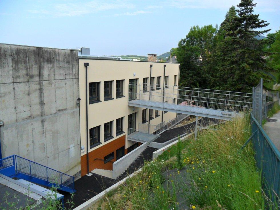 Face arrière du bâtiment B - Passerelles